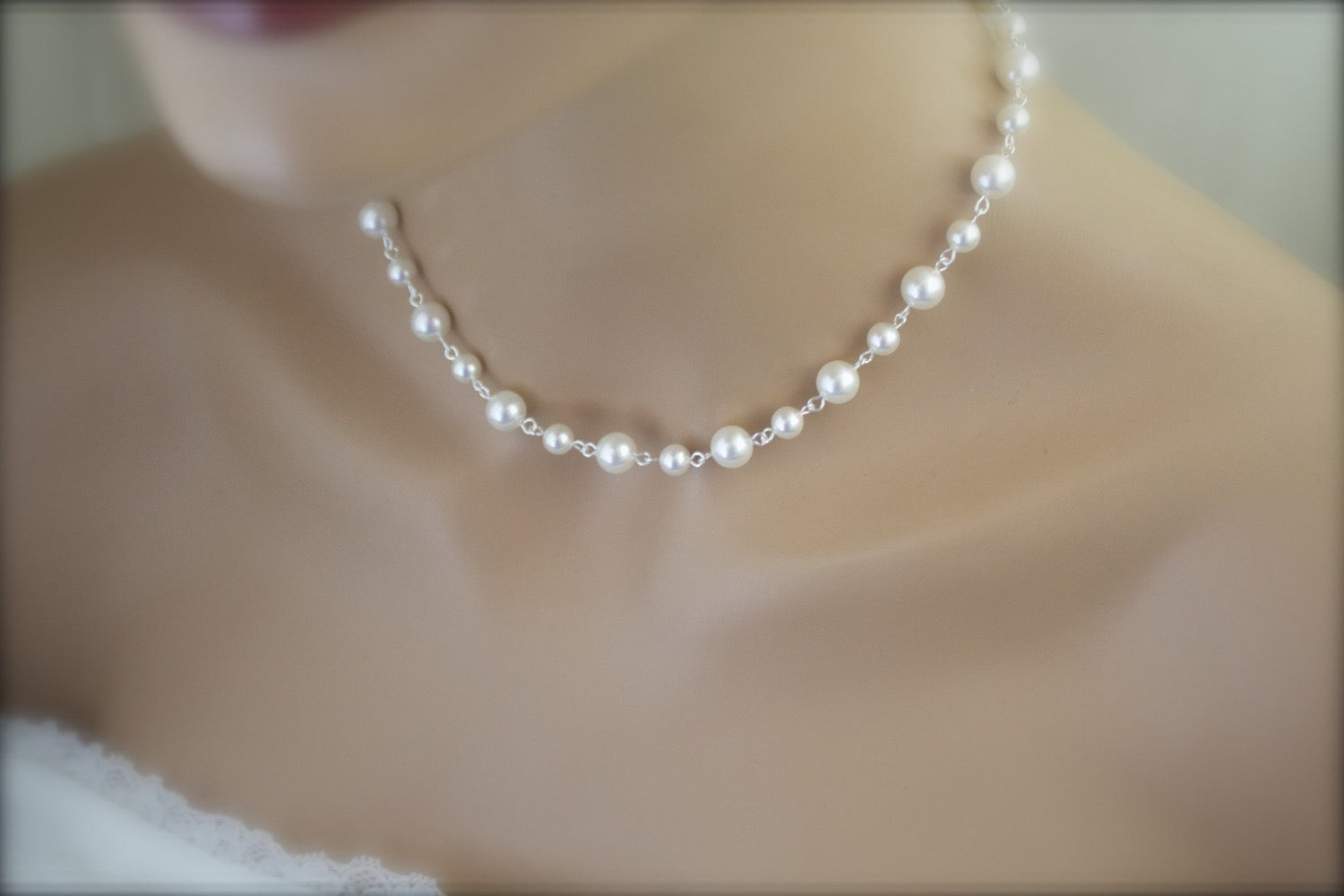 Pearl Backdrop Necklace Wedding Jewelry Bridal Necklace - Clairesbridal - 3