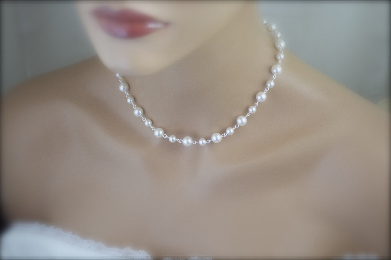 Pearl Backdrop Necklace Wedding Jewelry Bridal Necklace - Clairesbridal - 4