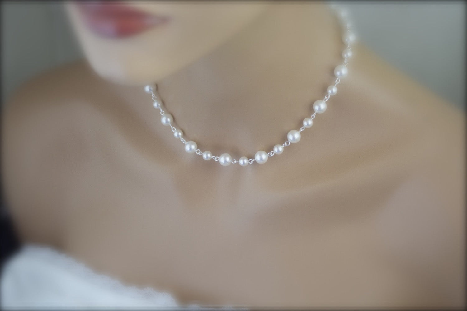Pearl Backdrop Necklace Wedding Jewelry Bridal Necklace - Clairesbridal - 2