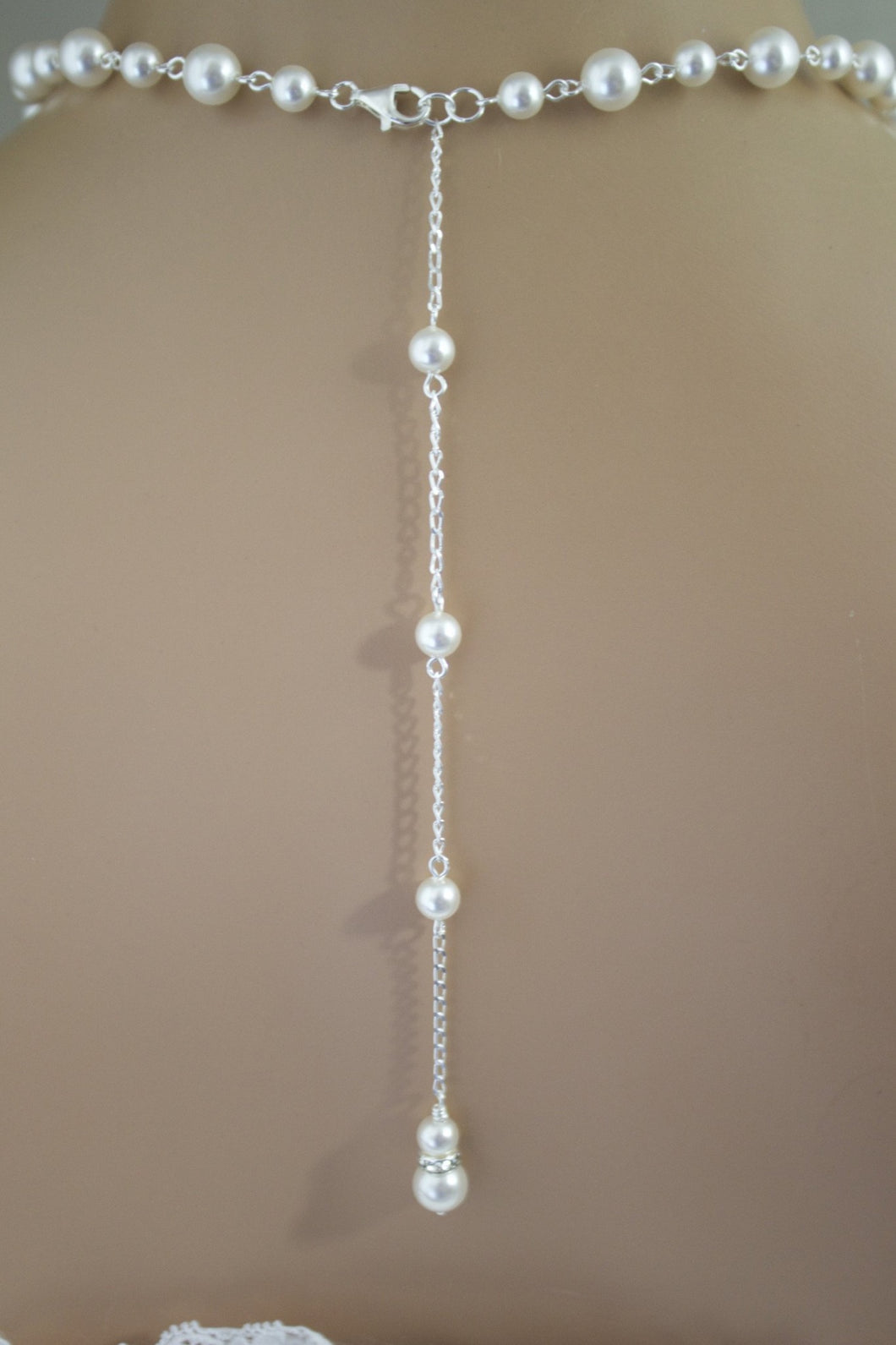 Pearl Backdrop Necklace Wedding Jewelry Bridal Necklace - Clairesbridal - 1