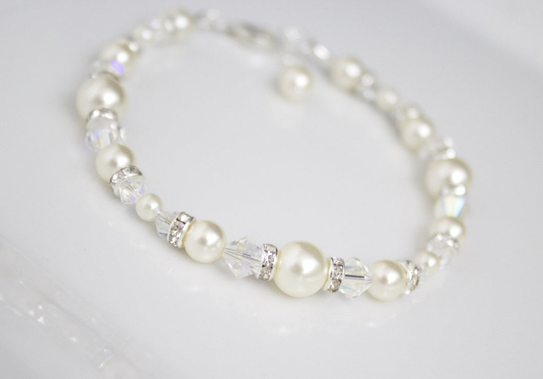 Ivory pearl bracelet and earring set for brides - Clairesbridal - 1