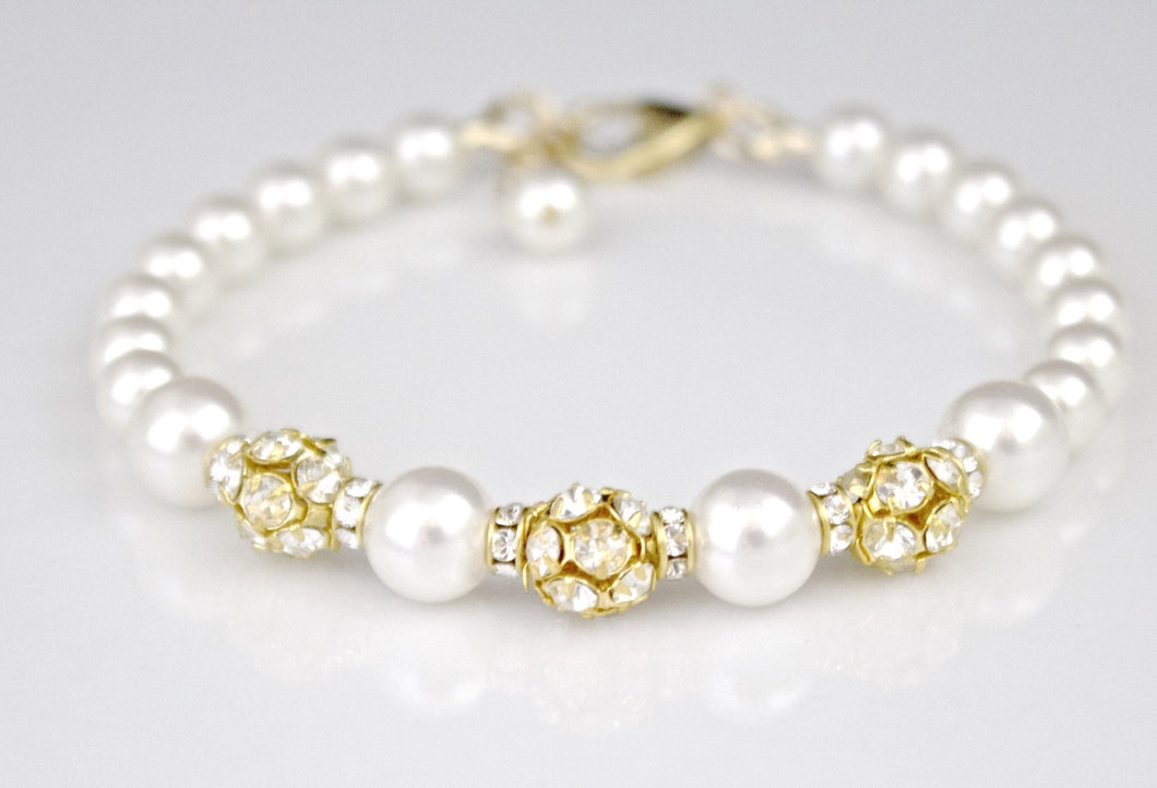 White Pearl and Gold Bracelet Wedding Jewelry Rhinestone - Clairesbridal - 1