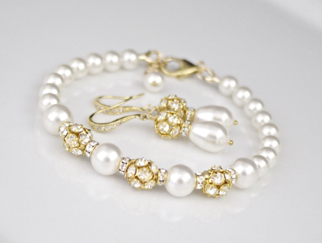 Pearl Jewelry Bracelet and Earring Sets for Brides White Pearl and Gold Bracelet - Clairesbridal - 1