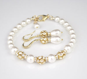 Pearl Jewelry Bracelet and Earring Sets for Brides White Pearl and Gold Bracelet - Clairesbridal - 2