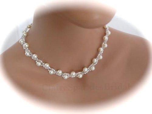 Ivory Pearl Bridal Necklace Wedding Jewelry - Clairesbridal - 1