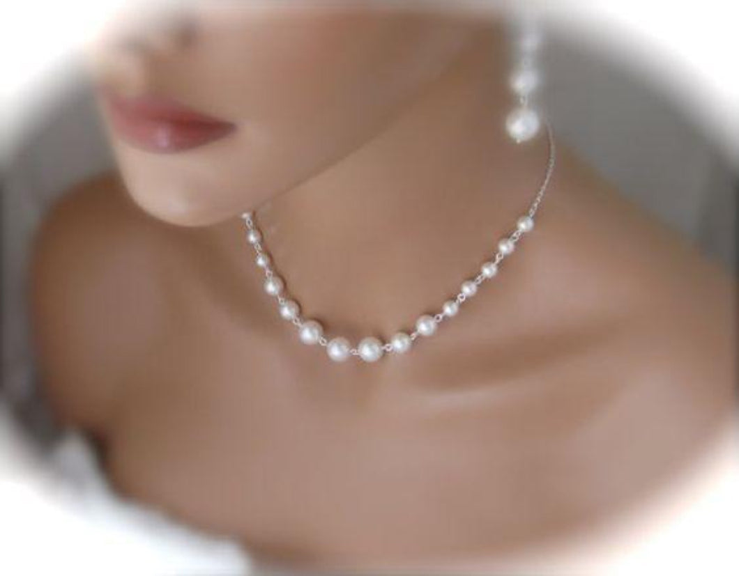 Pearl Bridal Necklace and Earring Set Swarovski Wedding Jewelry - Clairesbridal