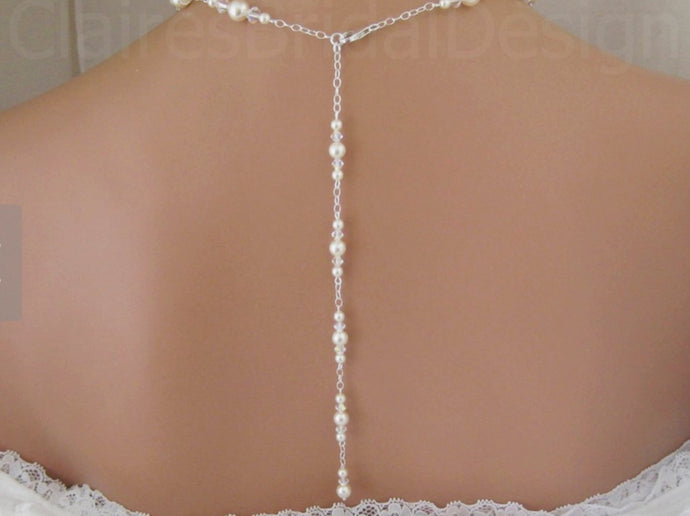 Bridal Jewelry Backdrop Necklace and Earrings - Clairesbridal - 1