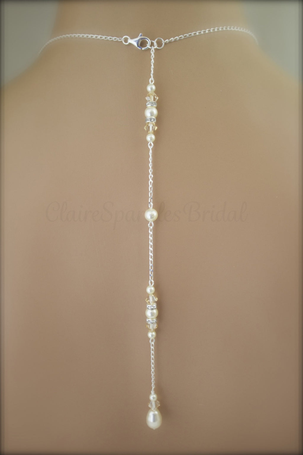 Bridal Backdrop Necklace Wedding jewelry Ivory Pearl Bridal Jewelry - Clairesbridal - 1