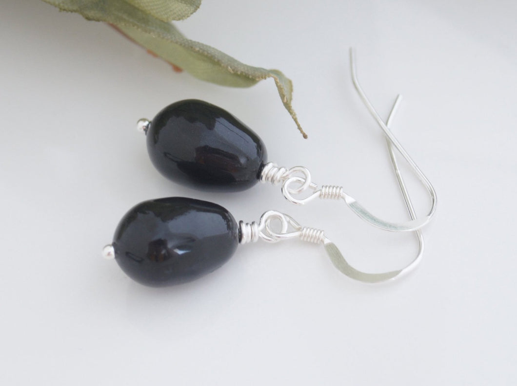 Black Pearl Drop Earrings For Bridesmaid - Clairesbridal - 1