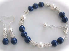 Load image into Gallery viewer, Blue and White Pearl Bracelet Bridal Jewelry Set - Clairesbridal - 1