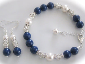 Blue and White Pearl Bracelet Bridal Jewelry Set - Clairesbridal - 1