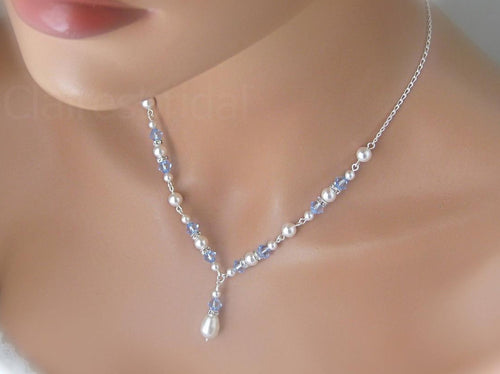 Blue and White Sapphire Necklace and Earring Sets for Bridesmaids - Clairesbridal - 1