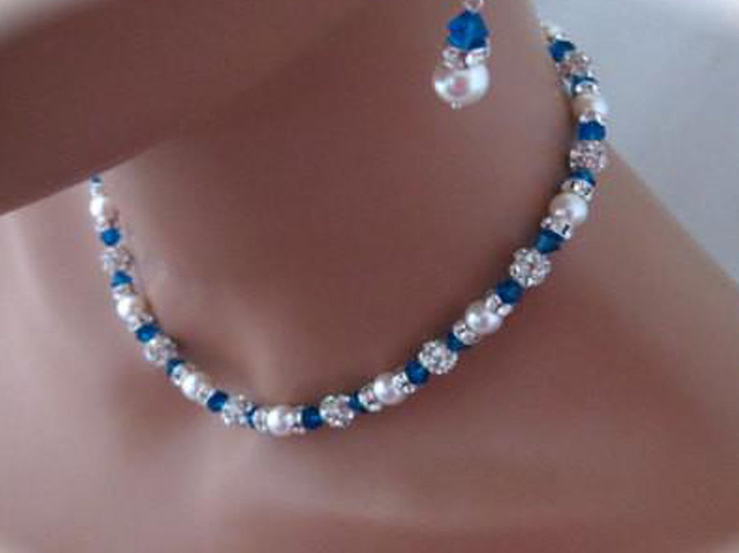 Blue Crystal and Pearl Necklace Set for Bridesmaids - Clairesbridal - 1