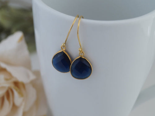 Blue Sapphire Gemstone Earrings - Clairesbridal - 1