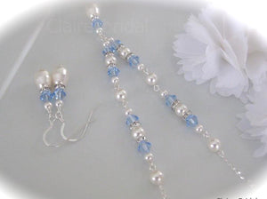 Blue and White Sapphire Necklace and Earring Sets for Bridesmaids - Clairesbridal - 3