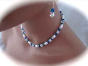 Blue Crystal and Pearl Necklace Set for Bridesmaids - Clairesbridal - 2