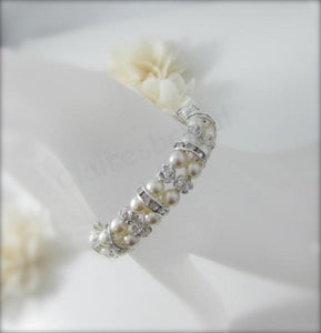 Pearl and Rhinestone Bracelet Wedding Jewelry - Clairesbridal - 4