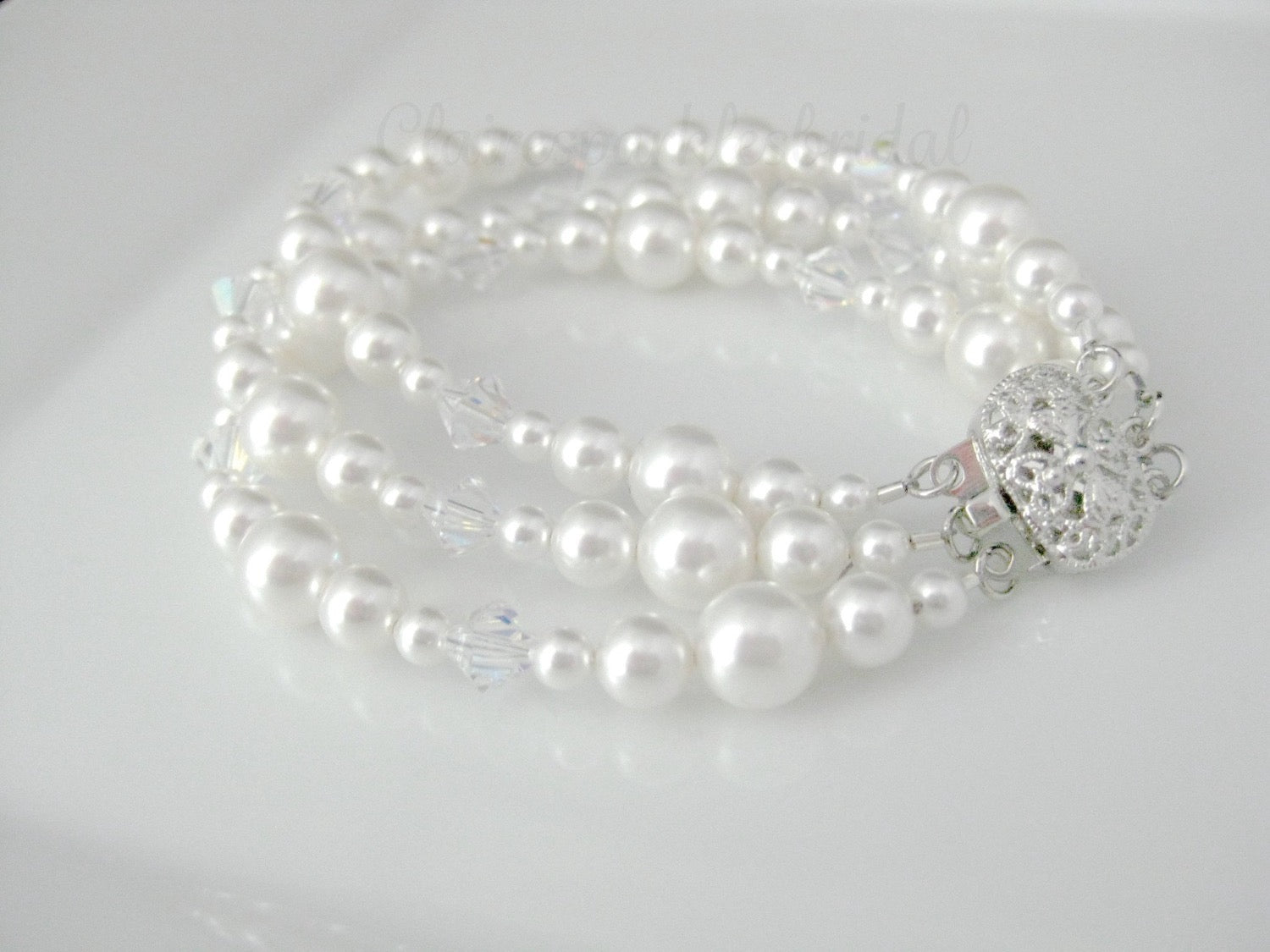 bridal jewelry pearl and crystal bracelet - Clairesbridal - 3