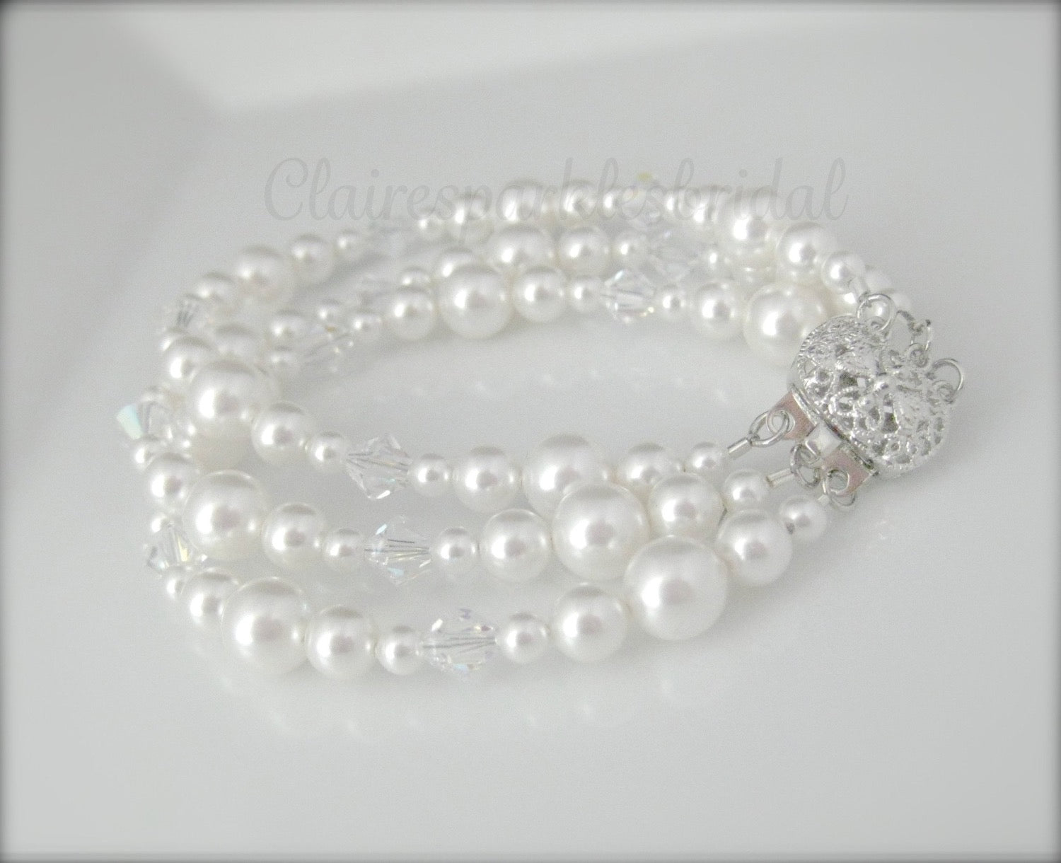 bridal jewelry pearl and crystal bracelet - Clairesbridal - 2