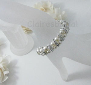 Pearl and Rhinestone Bracelet Wedding Jewelry - Clairesbridal - 2