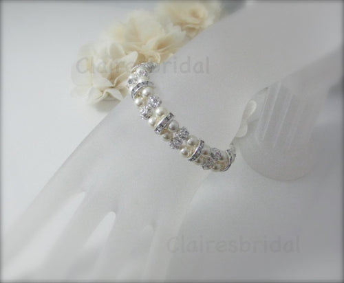 Pearl and Rhinestone Bracelet Wedding Jewelry - Clairesbridal - 1