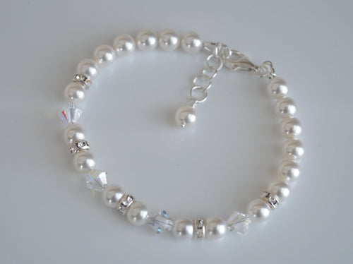 Pearl and Crystal Bracelet Made With Swarovski Elements - Clairesbridal - 1