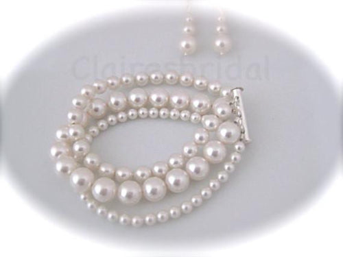 Triple Strand Pearl Cuff Bracelet and Earrings Set Wedding Jewelry Set - Clairesbridal - 1