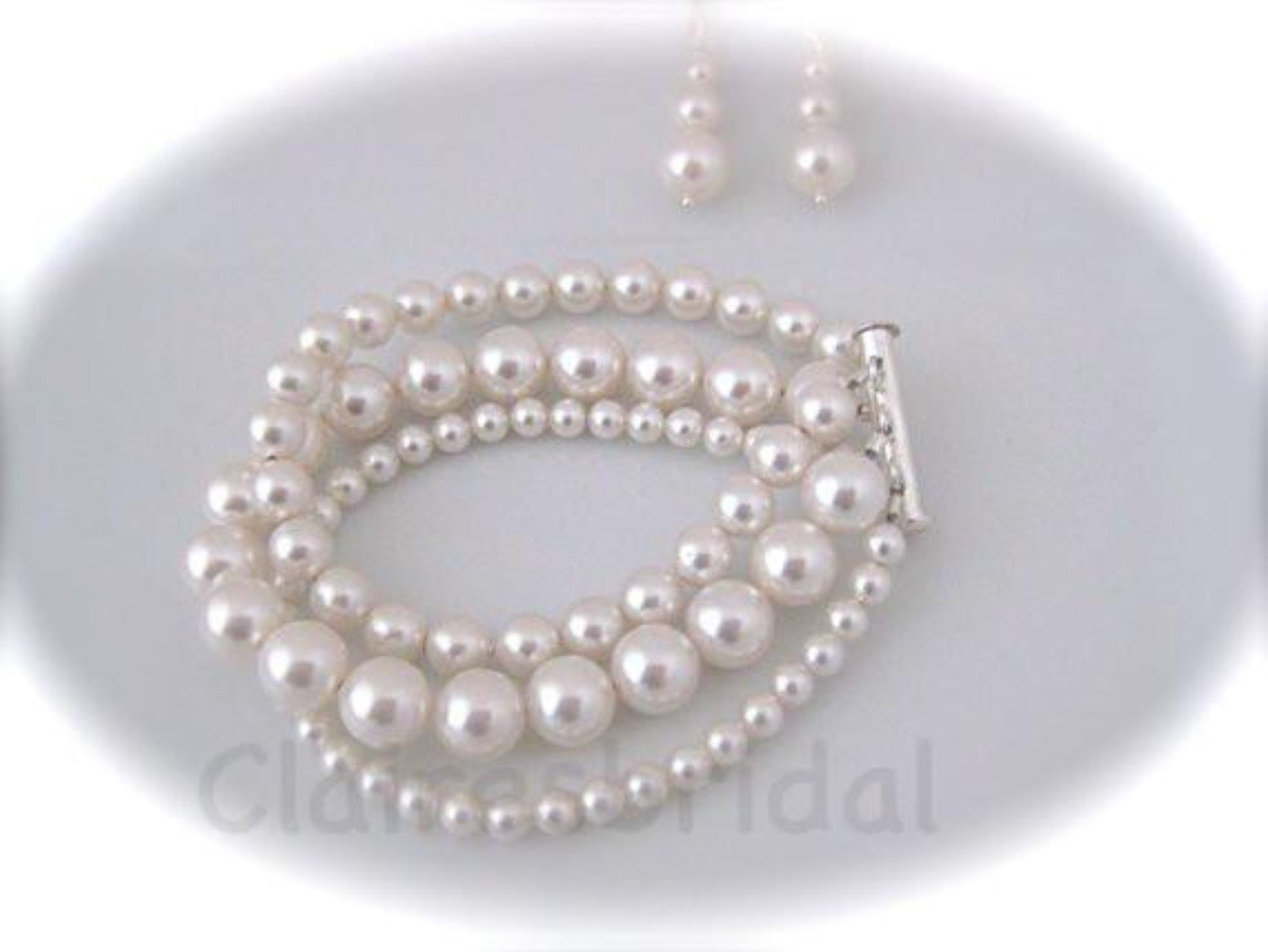 Triple Strand Pearl Cuff Bracelet and Earrings Set Wedding Jewelry Set - Clairesbridal - 4