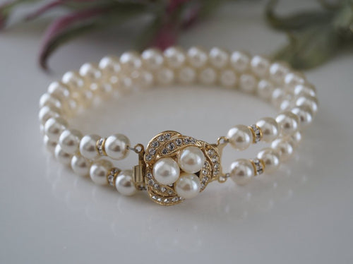 Gold and Pearl Bracelet, Bridal Jewelry, Vintage Inspired - Clairesbridal - 1