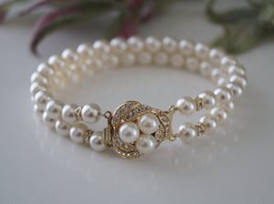 Gold Pearl and Rhinestone Bracelet - Vintage Inspired