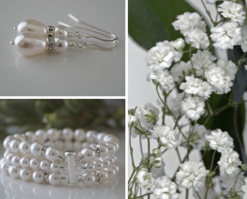 Bridal Pearl Cuff Bracelet and Earrings - Clairesbridal - 1