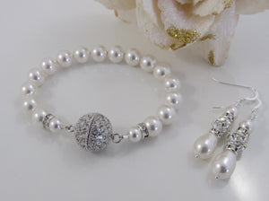 Wedding Pearl Bracelet and Earring Set - Clairesbridal - 1
