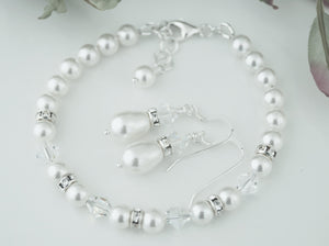White Pearl Jewellery Sets, Bracelet and Earrings For Wedding - Clairesbridal - 1