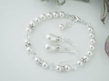Load image into Gallery viewer, White Pearl Jewellery Sets, Bracelet and Earrings For Wedding - Clairesbridal - 2