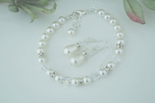 Load image into Gallery viewer, White Pearl Jewellery Sets, Bracelet and Earrings For Wedding - Clairesbridal - 3