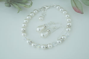 White Pearl Jewellery Sets, Bracelet and Earrings For Wedding - Clairesbridal - 3