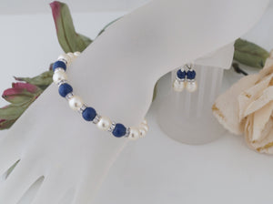 Blue and Ivory Wedding Jewelry Bridesmaids Bracelet and Earring Set - Clairesbridal - 1