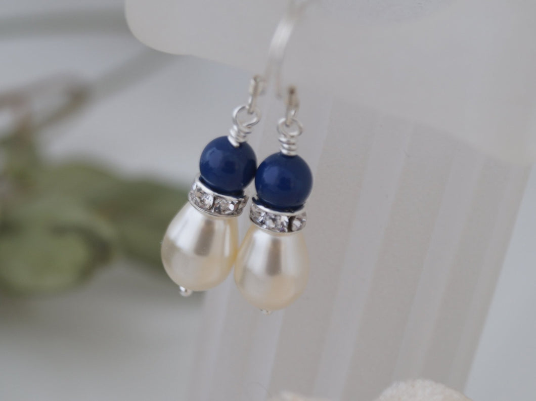 Blue and Ivory Wedding Earrings Bridesmaids Jewelry - Clairesbridal - 1