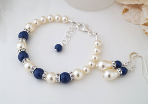 Blue and Ivory Wedding Jewelry Bridesmaids Bracelet and Earring Set - Clairesbridal - 2