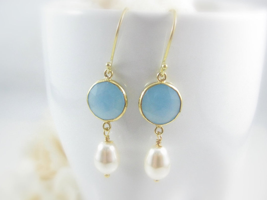 Blue Gemstone Earrings - Clairesbridal - 1