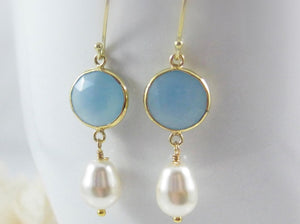 Blue Gemstone Earrings - Clairesbridal - 2