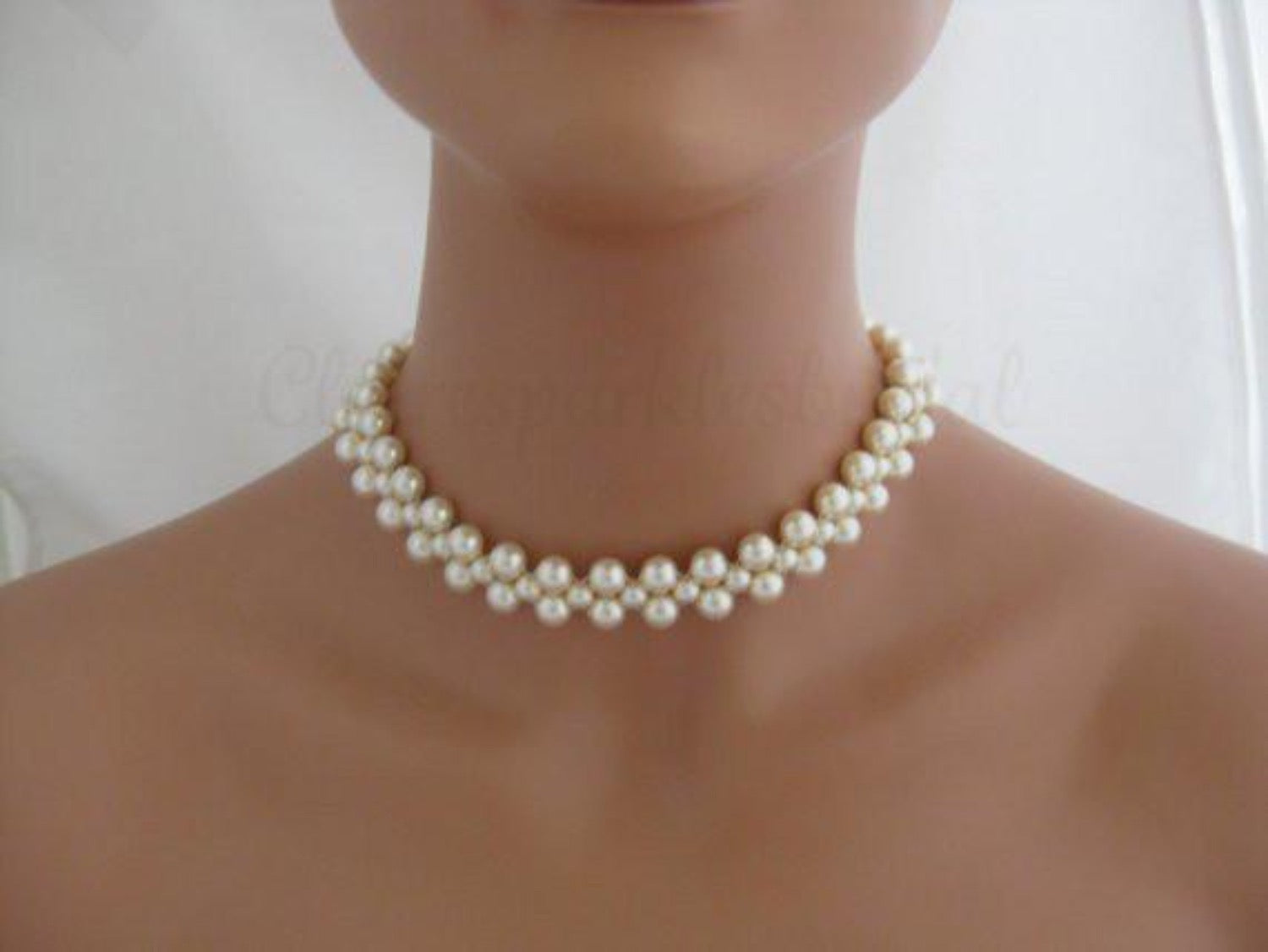 Wedding Jewelry Ivory Pearl Choker Necklace - Clairesbridal - 1