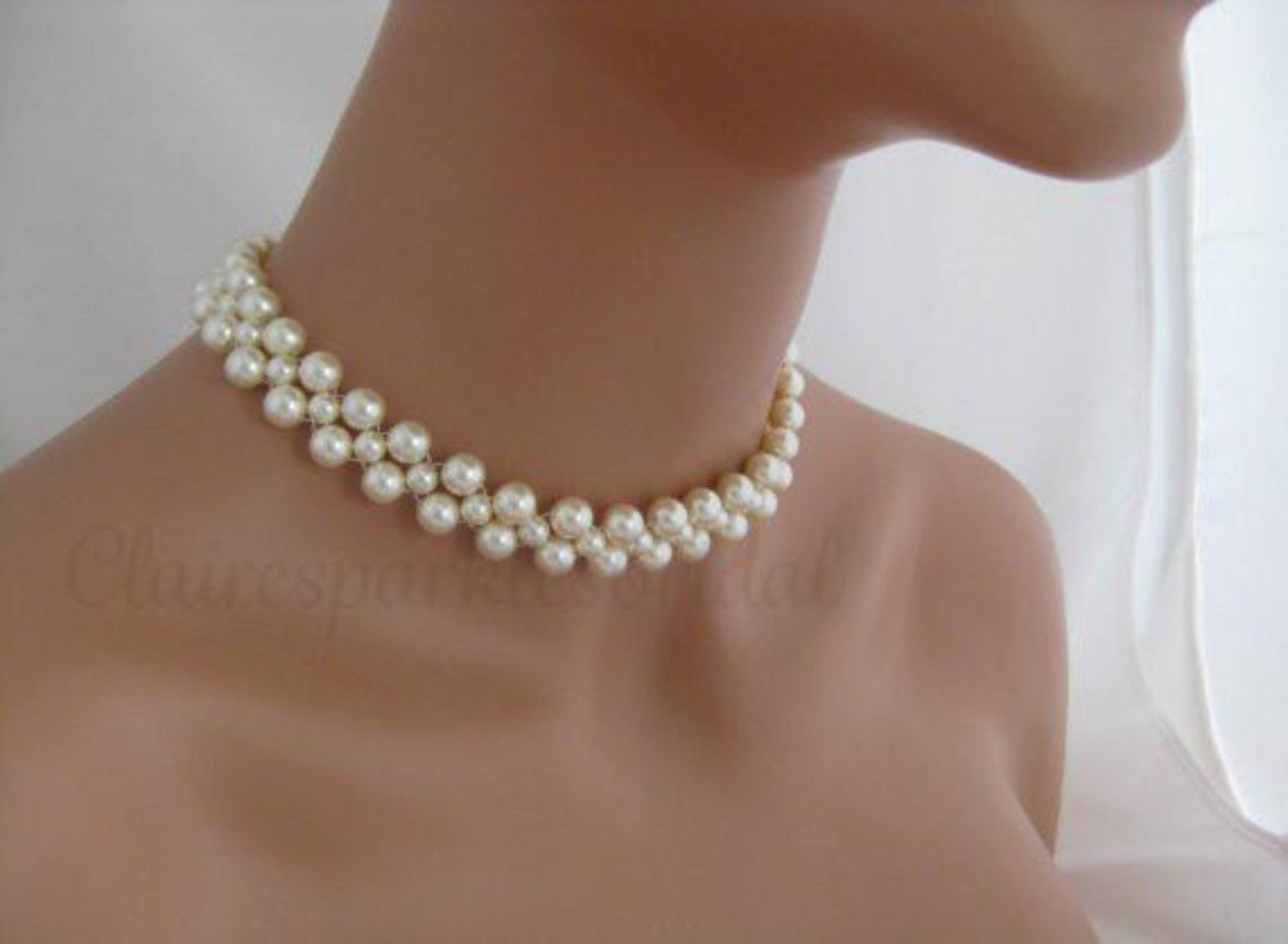 Wedding Jewelry Ivory Pearl Choker Necklace - Clairesbridal - 2