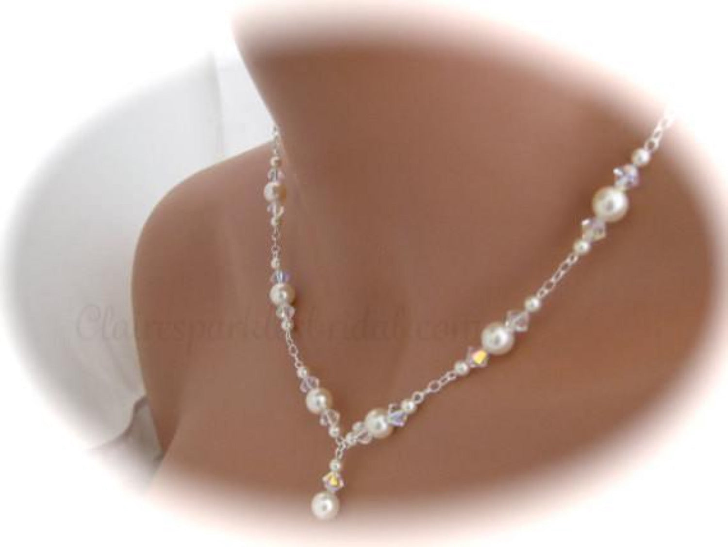 Pearl Wedding Necklace and Earrings Set Wedding Jewelry - Clairesbridal - 2