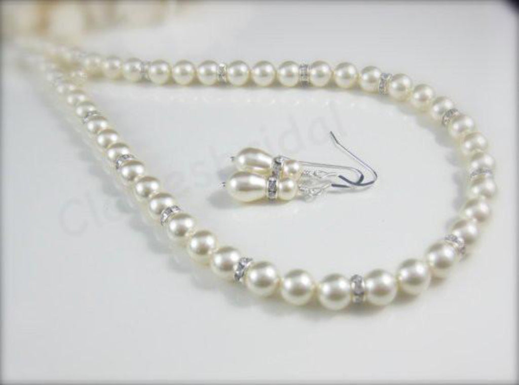 Cream Swarovski Pearl Necklace and Earrings Wedding Jewelry - Clairesbridal - 1