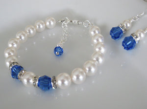 Blue and White Bridesmaid Jewelry Bracelet and Earrings Set - Clairesbridal - 3