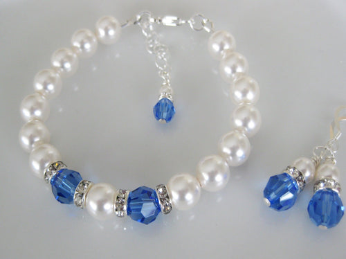 Blue and White Bridesmaid Jewelry Bracelet and Earrings Set - Clairesbridal - 1