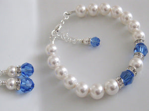 Blue and White Bridesmaid Jewelry Bracelet and Earrings Set - Clairesbridal - 2