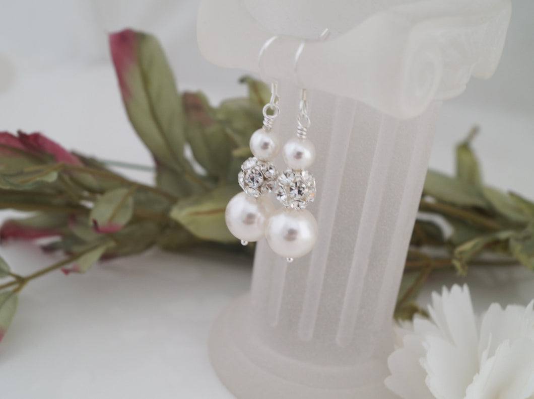 Pearl and Crystal Rhinestone Earrings, Wedding Jewelry - Clairesbridal - 1