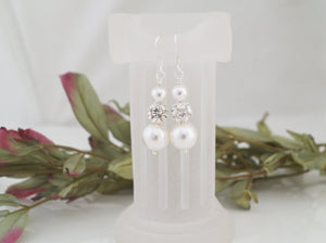 Pearl and Crystal Rhinestone Earrings, Wedding Jewelry - Clairesbridal - 7